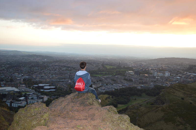 Andrew looks over Edinburgh from Arthur's Seat